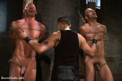 Photo number 11 from Plan B shot for Bound Gods on Kink.com. Featuring Patrick Rouge, Tommy Defendi and Van Darkholme in hardcore BDSM & Fetish porn.