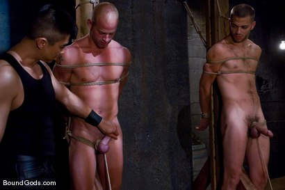 Photo number 7 from Plan B shot for Bound Gods on Kink.com. Featuring Patrick Rouge, Tommy Defendi and Van Darkholme in hardcore BDSM & Fetish porn.