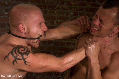 Photo number 7 from The Angry Bondage Toy shot for Bound Gods on Kink.com. Featuring Luke Riley and Chad Manning in hardcore BDSM & Fetish porn.