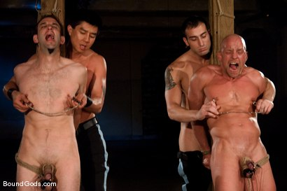 Photo number 7 from Downsizing shot for Bound Gods on Kink.com. Featuring Chad Rock, Spencer Reed, Jason Miller and Van Darkholme in hardcore BDSM & Fetish porn.