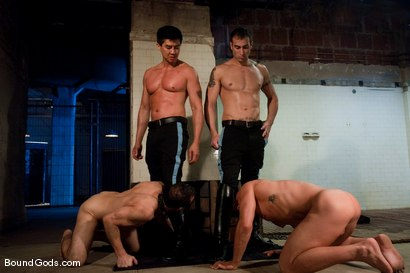 Photo number 2 from Downsizing shot for Bound Gods on Kink.com. Featuring Chad Rock, Spencer Reed, Jason Miller and Van Darkholme in hardcore BDSM & Fetish porn.