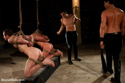 Photo number 5 from Downsizing shot for Bound Gods on Kink.com. Featuring Chad Rock, Spencer Reed, Jason Miller and Van Darkholme in hardcore BDSM & Fetish porn.