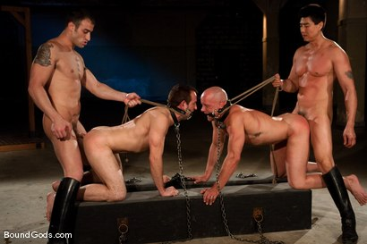 Photo number 13 from Downsizing shot for Bound Gods on Kink.com. Featuring Chad Rock, Spencer Reed, Jason Miller and Van Darkholme in hardcore BDSM & Fetish porn.
