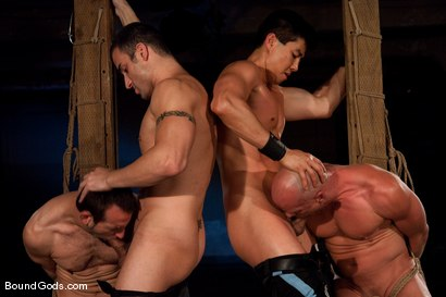Photo number 11 from Downsizing shot for Bound Gods on Kink.com. Featuring Chad Rock, Spencer Reed, Jason Miller and Van Darkholme in hardcore BDSM & Fetish porn.