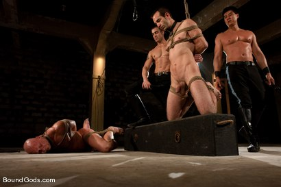 Photo number 6 from Downsizing shot for Bound Gods on Kink.com. Featuring Chad Rock, Spencer Reed, Jason Miller and Van Darkholme in hardcore BDSM & Fetish porn.