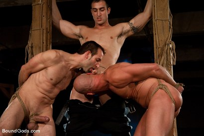 Photo number 9 from Downsizing shot for Bound Gods on Kink.com. Featuring Chad Rock, Spencer Reed, Jason Miller and Van Darkholme in hardcore BDSM & Fetish porn.