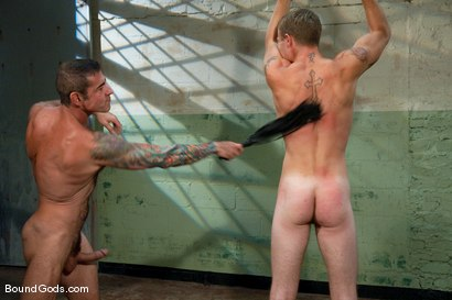 Photo number 10 from The Slaughterhouse: Part One <br /> The Head Butcher shot for Bound Gods on Kink.com. Featuring Nick Moretti, DJ and Christian Wilde in hardcore BDSM & Fetish porn.