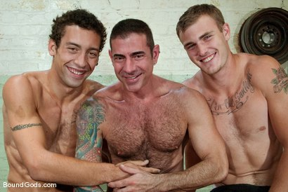 Photo number 15 from The Slaughterhouse: Part One <br /> The Head Butcher shot for Bound Gods on Kink.com. Featuring Nick Moretti, DJ and Christian Wilde in hardcore BDSM & Fetish porn.