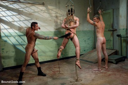 Photo number 5 from The Slaughterhouse: Part One <br /> The Head Butcher shot for Bound Gods on Kink.com. Featuring Nick Moretti, DJ and Christian Wilde in hardcore BDSM & Fetish porn.