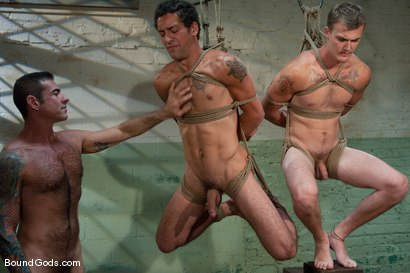 Photo number 7 from The Slaughterhouse: Part One <br /> The Head Butcher shot for Bound Gods on Kink.com. Featuring Nick Moretti, DJ and Christian Wilde in hardcore BDSM & Fetish porn.