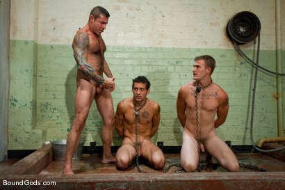 Photo number 12 from The Slaughterhouse: Part One <br /> The Head Butcher shot for Bound Gods on Kink.com. Featuring Nick Moretti, DJ and Christian Wilde in hardcore BDSM & Fetish porn.