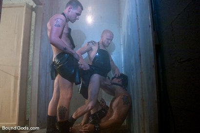 Photo number 4 from The Slaughterhouse: Part 2   Fun in the Slaughterhouse shot for Bound Gods on Kink.com. Featuring Luke Riley, Jesse Alan and DJ in hardcore BDSM & Fetish porn.