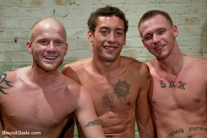 Photo number 15 from The Slaughterhouse: Part 2 <br />Fun in the Slaughterhouse shot for Bound Gods on Kink.com. Featuring Luke Riley, Jesse Alan and DJ in hardcore BDSM & Fetish porn.