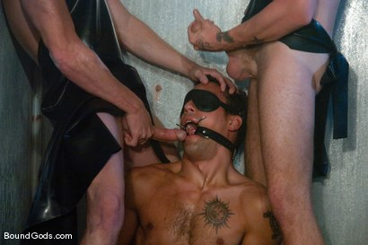 Photo number 5 from The Slaughterhouse: Part 2 <br />Fun in the Slaughterhouse shot for Bound Gods on Kink.com. Featuring Luke Riley, Jesse Alan and DJ in hardcore BDSM & Fetish porn.