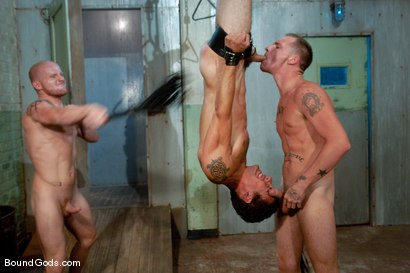 Photo number 7 from The Slaughterhouse: Part 2 <br />Fun in the Slaughterhouse shot for Bound Gods on Kink.com. Featuring Luke Riley, Jesse Alan and DJ in hardcore BDSM & Fetish porn.