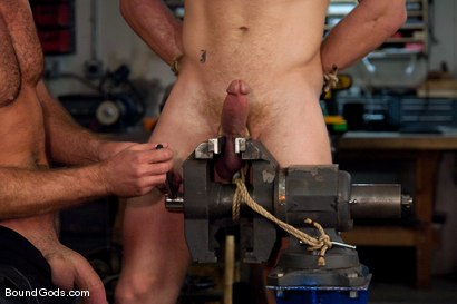 Photo number 9 from Mayhem in The Metal Shop Reloaded shot for Bound Gods on Kink.com. Featuring Josh West, Kain Warn and Luke Riley in hardcore BDSM & Fetish porn.