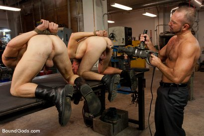 Photo number 11 from Mayhem in The Metal Shop Reloaded shot for Bound Gods on Kink.com. Featuring Josh West, Kain Warn and Luke Riley in hardcore BDSM & Fetish porn.