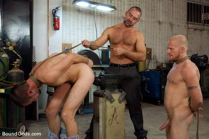 Photo number 13 from Mayhem in The Metal Shop Reloaded shot for Bound Gods on Kink.com. Featuring Josh West, Kain Warn and Luke Riley in hardcore BDSM & Fetish porn.