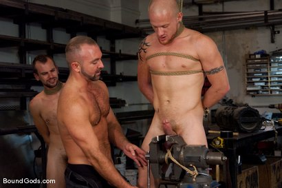 Photo number 10 from Mayhem in The Metal Shop Reloaded shot for Bound Gods on Kink.com. Featuring Josh West, Kain Warn and Luke Riley in hardcore BDSM & Fetish porn.