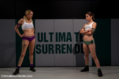 """Photo number 2 from Amber """"Rogue"""" Rayne (1-0)<br>vs<br>Rain """"Poison"""" DeGrey (0-0) shot for Ultimate Surrender on Kink.com. Featuring Amber Rayne and Rain DeGrey in hardcore BDSM & Fetish porn."""