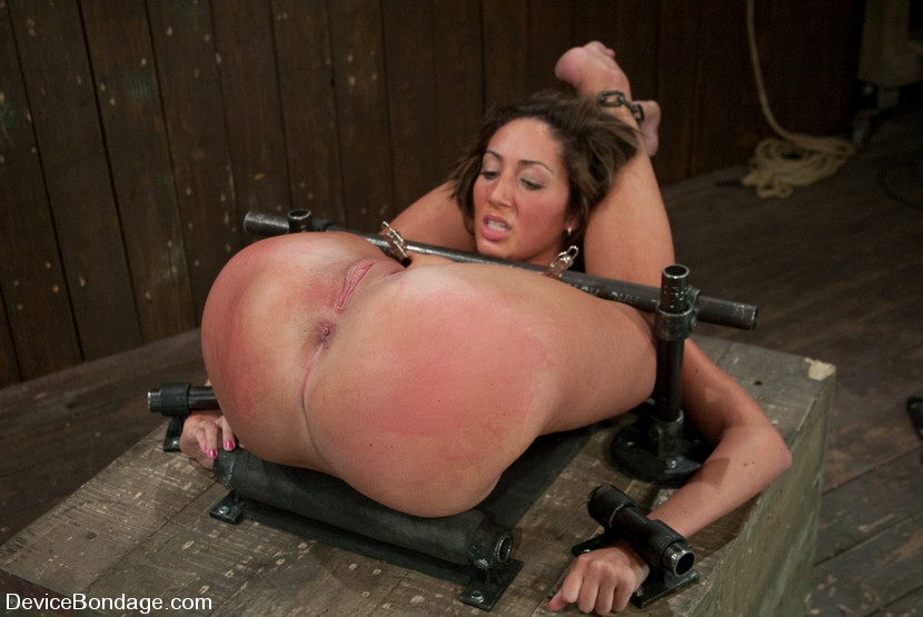In shaved bondage pussy