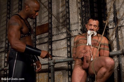 Photo number 6 from Race and Alessio shot for Bound Gods on Kink.com. Featuring Alessio Romero and Race Cooper in hardcore BDSM & Fetish porn.