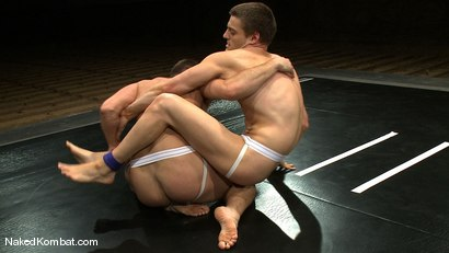 Photo number 5 from Andrew Blue vs Derrek Diamond<br />The Oil Match shot for Naked Kombat on Kink.com. Featuring Andrew Blue and Derrek Diamond in hardcore BDSM & Fetish porn.