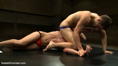 Photo number 2 from Andrew Blue vs Derrek Diamond<br />The Oil Match shot for Naked Kombat on Kink.com. Featuring Andrew Blue and Derrek Diamond in hardcore BDSM & Fetish porn.