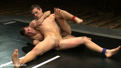 Photo number 6 from Andrew Blue vs Derrek Diamond<br />The Oil Match shot for Naked Kombat on Kink.com. Featuring Andrew Blue and Derrek Diamond in hardcore BDSM & Fetish porn.