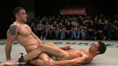 Photo number 13 from Spencer Reed & DJ vs Patrick Rouge & Dean Tucker<br />The Live Audience Match  shot for Naked Kombat on Kink.com. Featuring Patrick Rouge, Dean Tucker, DJ and Spencer Reed in hardcore BDSM & Fetish porn.