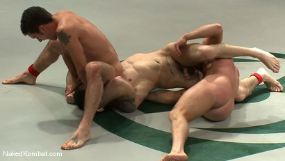 Photo number 11 from Spencer Reed & DJ vs Patrick Rouge & Dean Tucker<br />The Live Audience Match  shot for Naked Kombat on Kink.com. Featuring Patrick Rouge, Dean Tucker, DJ and Spencer Reed in hardcore BDSM & Fetish porn.