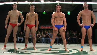 Photo number 15 from Spencer Reed & DJ vs Patrick Rouge & Dean Tucker<br />The Live Audience Match  shot for Naked Kombat on Kink.com. Featuring Patrick Rouge, Dean Tucker, DJ and Spencer Reed in hardcore BDSM & Fetish porn.