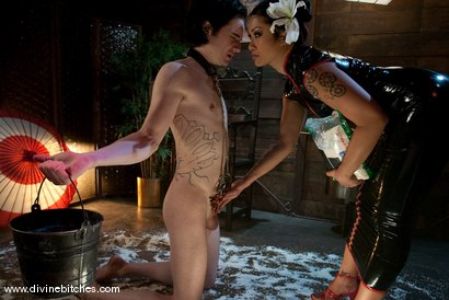 """Photo number 15 from Training of a Houseboy: Episode 3 """"The Cock Puppet"""" shot for Divine Bitches on Kink.com. Featuring DragonLily and Kade in hardcore BDSM & Fetish porn."""