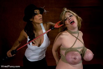 Photo number 8 from Katie Kox gets her BIG TITS Bound, Clamped, and Shocked shot for Wired Pussy on Kink.com. Featuring Isis Love and Katie Kox in hardcore BDSM & Fetish porn.