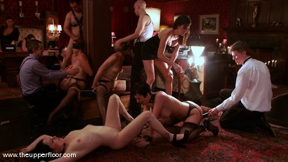 Photo number 9 from The First Cocktail Party shot for The Upper Floor on Kink.com. Featuring Cherry Torn, Savannah West, Bella Rossi, Sarah Shevon, Mister Torn, Catrina Cummings, Maestro and Curt Wooster in hardcore BDSM & Fetish porn.