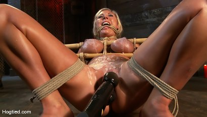 Photo number 8 from Skylar Price: Blond Bombshell Bamboo Bound  shot for Hogtied on Kink.com. Featuring Skylar Price in hardcore BDSM & Fetish porn.