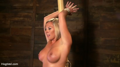 Photo number 2 from Skylar Price: Blond Bombshell Bamboo Bound  shot for Hogtied on Kink.com. Featuring Skylar Price in hardcore BDSM & Fetish porn.