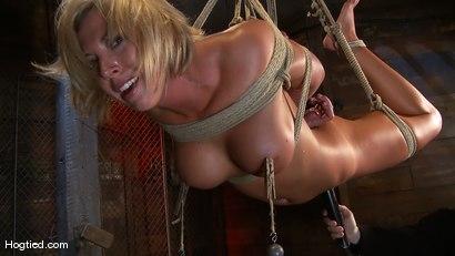Photo number 13 from Skylar Price: Blond Bombshell Bamboo Bound  shot for Hogtied on Kink.com. Featuring Skylar Price in hardcore BDSM & Fetish porn.