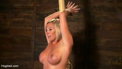 Photo number 2 from Skylar Price: Blond Bombshell Bamboo Bound  shot for Hogtied on Kink.com. Featuring Skylar Price in hardcore BDSM & Fetish porn.