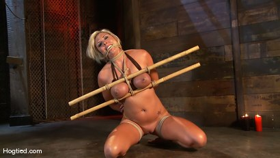 Photo number 6 from Skylar Price: Blond Bombshell Bamboo Bound  shot for Hogtied on Kink.com. Featuring Skylar Price in hardcore BDSM & Fetish porn.