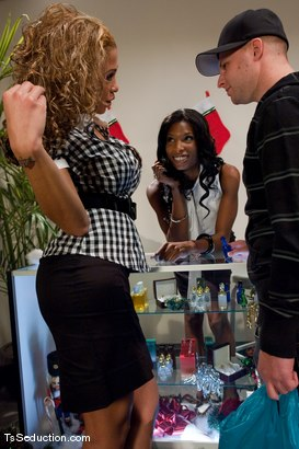 Photo number 2 from Jessica Host, Natassia Dream <br> Holiday Shopping shot for TS Seduction on Kink.com. Featuring Jessica Host, Triston Hall and Natassia Dreams in hardcore BDSM & Fetish porn.