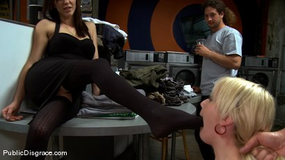 Photo number 1 from Missy Woods Goes to the Laundromat shot for Public Disgrace on Kink.com. Featuring Missy Woods and Mark Davis in hardcore BDSM & Fetish porn.