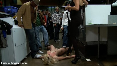 Photo number 11 from Missy Woods Goes to the Laundromat shot for Public Disgrace on Kink.com. Featuring Missy Woods and Mark Davis in hardcore BDSM & Fetish porn.