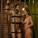 Wormy husband is locked away in chastity then made to watch wife get fucked
