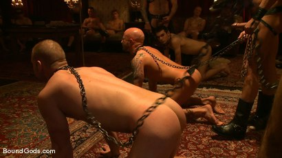 Photo number 10 from All Male Bondage Gang Bang on the Upper Floor<br /> Live Shoot shot for Bound Gods on Kink.com. Featuring Van Darkholme, Spencer Reed, Patrick Rouge, Drake Jaden, Tyler Saint and Nick Moretti in hardcore BDSM & Fetish porn.