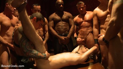 Photo number 14 from All Male Bondage Gang Bang on the Upper Floor<br /> Live Shoot shot for Bound Gods on Kink.com. Featuring Van Darkholme, Spencer Reed, Patrick Rouge, Drake Jaden, Tyler Saint and Nick Moretti in hardcore BDSM & Fetish porn.