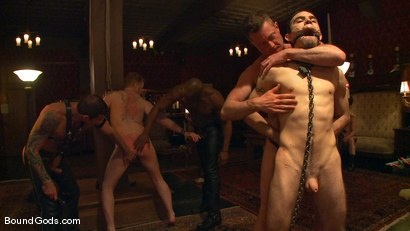 Photo number 5 from All Male Bondage Gang Bang on the Upper Floor<br /> Live Shoot shot for Bound Gods on Kink.com. Featuring Van Darkholme, Spencer Reed, Patrick Rouge, Drake Jaden, Tyler Saint and Nick Moretti in hardcore BDSM & Fetish porn.