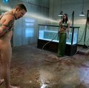 Chained up slaveboy pleasing and fucking his mistress under water.