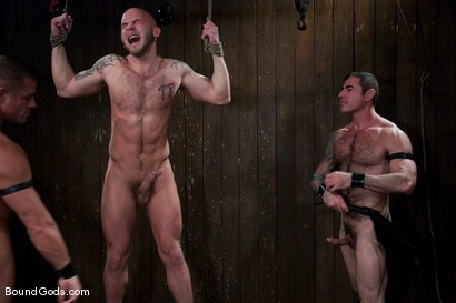 Photo number 8 from Flogs for Fuck II shot for Bound Gods on Kink.com. Featuring Drake Jaden, Tyler Saint and Nick Moretti in hardcore BDSM & Fetish porn.