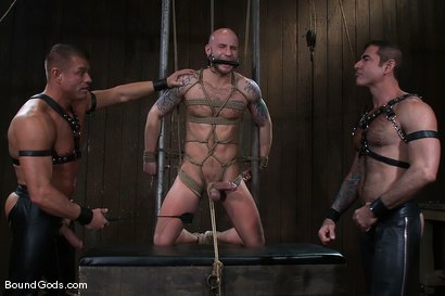 Photo number 1 from Flogs for Fuck II shot for Bound Gods on Kink.com. Featuring Drake Jaden, Tyler Saint and Nick Moretti in hardcore BDSM & Fetish porn.